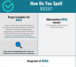 Correct spelling for KOSA