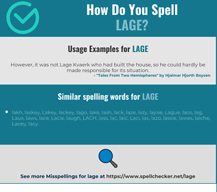 Correct spelling for LAGE