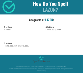 Correct spelling for LAZON
