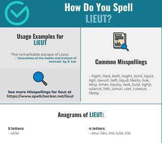 Correct spelling for LIEUT