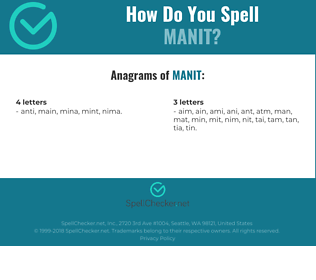 Correct spelling for MANIT