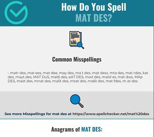 Correct spelling for MAT DES