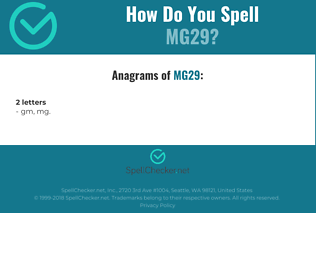Correct spelling for MG29