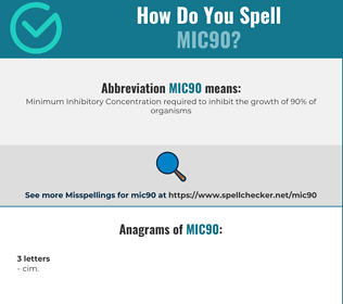 Correct spelling for MIC90