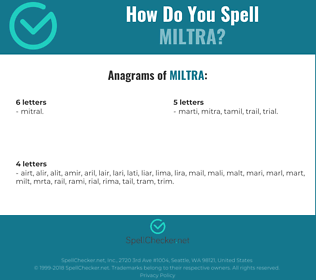 Correct spelling for MILTRA