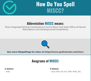 Correct spelling for MISCC