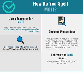 Correct spelling for MOTI
