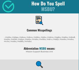 Correct spelling for MSBU