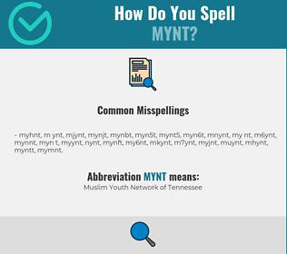 Correct spelling for MYNT