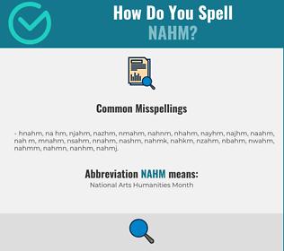 Correct spelling for NAHM
