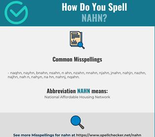 Correct spelling for NAHN