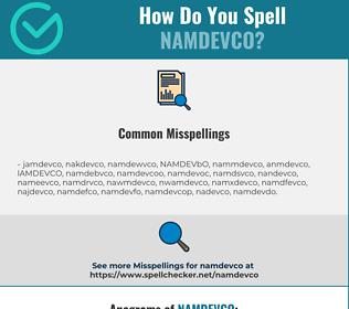 Correct spelling for NAMDEVCO