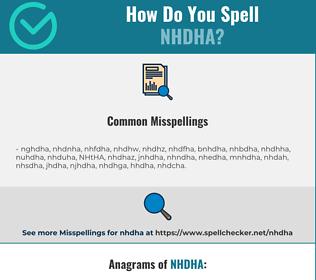 Correct spelling for NHDHA
