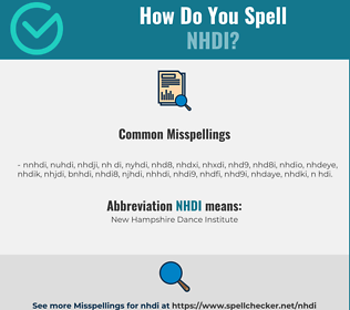 Correct spelling for NHDI