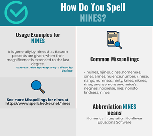 Correct spelling for NINES