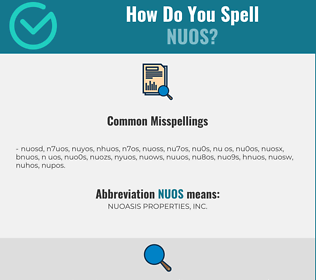 Correct spelling for NUOS