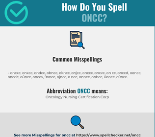 Correct spelling for ONCC