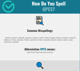 Correct spelling for OPES