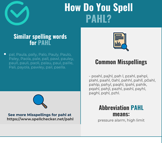 Correct spelling for PAHL