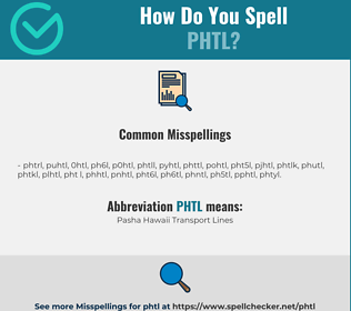Correct spelling for PHTL