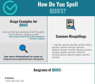 Correct spelling for QUIES