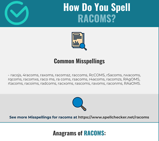 Correct spelling for RACOMS