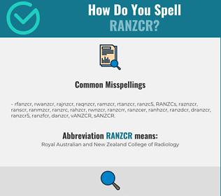 Correct spelling for RANZCR