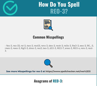 Correct spelling for REO-3