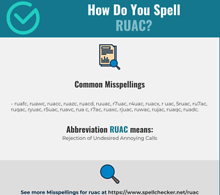 Correct spelling for RUAC