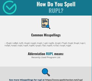 Correct spelling for RUPL