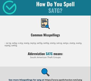 Correct spelling for SATG