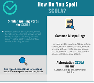 Correct spelling for SCOLA