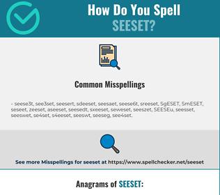 Correct spelling for SEESET