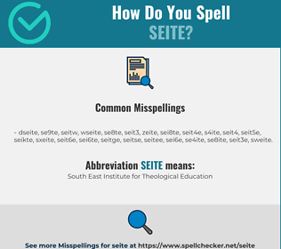Correct spelling for SEITE