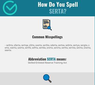 Correct spelling for SERTA