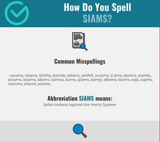 Correct spelling for SIAMS