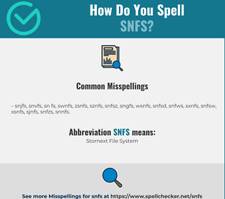 Correct spelling for SNFS
