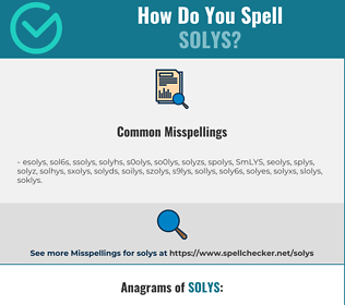 Correct spelling for SOLYS