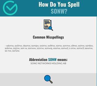 Correct spelling for SONW