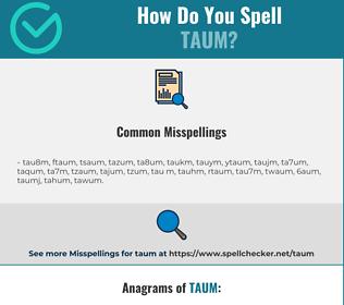 Correct spelling for TAUM