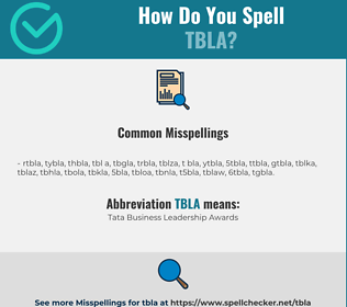 Correct spelling for TBLA