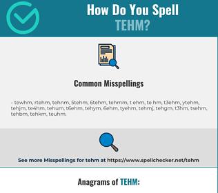 Correct spelling for TEHM