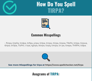 Correct spelling for TIRPA