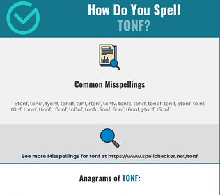 Correct spelling for TONF