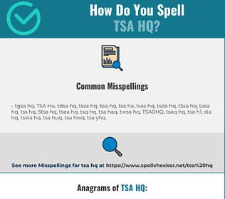 Correct spelling for TSA HQ