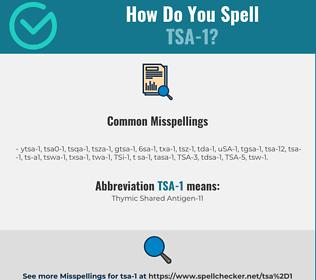 Correct spelling for TSA-1