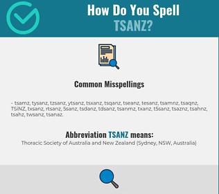 Correct spelling for TSANZ