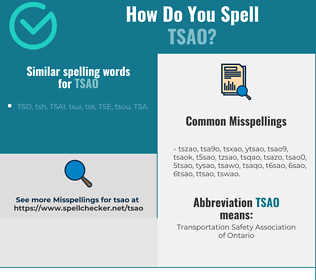 Correct spelling for TSAO