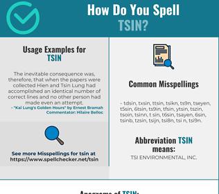Correct spelling for TSIN