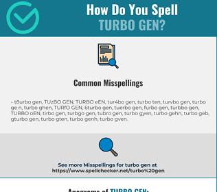 Correct spelling for TURBO GEN